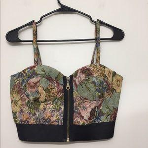 Tops - Vintage design floral seductions zip bralette Sz S
